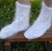 Пуховые носки из белого козьего пуха