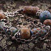 """Украшения ручной работы. Ярмарка Мастеров - ручная работа """"Бохо"""" браслет (серебро 925, стекло, кожа). Handmade."""