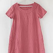 Одежда handmade. Livemaster - original item Boho-style dress made of salmon-colored linen. Handmade.