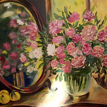 """Картины и панно ручной работы. Ярмарка Мастеров - ручная работа Картина """"Цветы в зеркале"""" картина маслом 40/30. Handmade."""