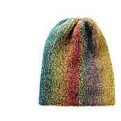 Аксессуары ручной работы. Ярмарка Мастеров - ручная работа Тёплая вязаная шапка бини из шерсти 100% Под яблоней 2. Handmade.