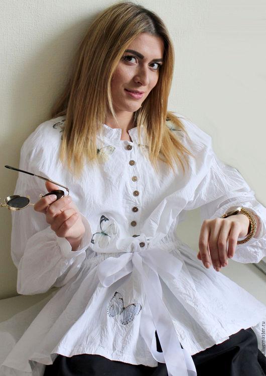 Блузки ручной работы. Ярмарка Мастеров - ручная работа. Купить Хлопковая блузка Бабочка. Handmade. Белый, блузка летняя, белоснежная
