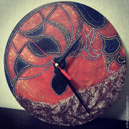 Часы для дома ручной работы. Ярмарка Мастеров - ручная работа. Купить Часы настенные. Handmade. Бордовый, часы для интерьера