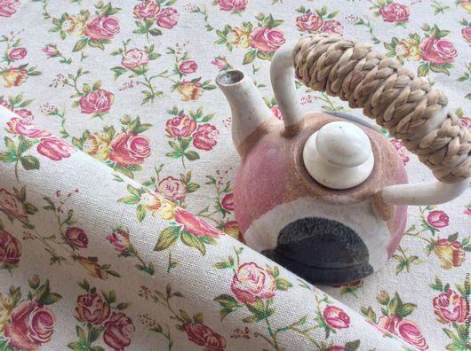 """Шитье ручной работы. Ярмарка Мастеров - ручная работа. Купить Ткань лен """"Розы"""". Handmade. Лен, ткани для рукоделия, шитье"""
