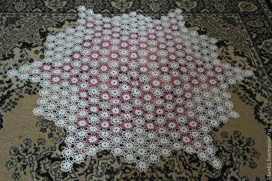 Текстиль, ковры ручной работы. Ярмарка Мастеров - ручная работа. Купить скатерть ажурная ручной работы бело-розовая 1200мм. Handmade.