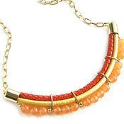 Украшения handmade. Livemaster - original item Leather necklace with agates on a chain orange