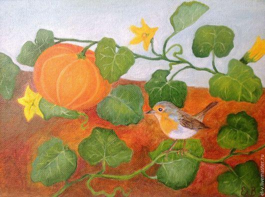 """Животные ручной работы. Ярмарка Мастеров - ручная работа. Купить Картина """"Зарянка"""", масло. Handmade. Картина с птицей, картина для кухни"""
