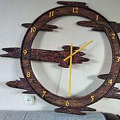 Часы классические ручной работы. Ярмарка Мастеров - ручная работа Деревянные часы-Колесо времени. Handmade.