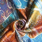 """Аксессуары ручной работы. Ярмарка Мастеров - ручная работа Батик платок """"Поздняя осень"""". Handmade."""
