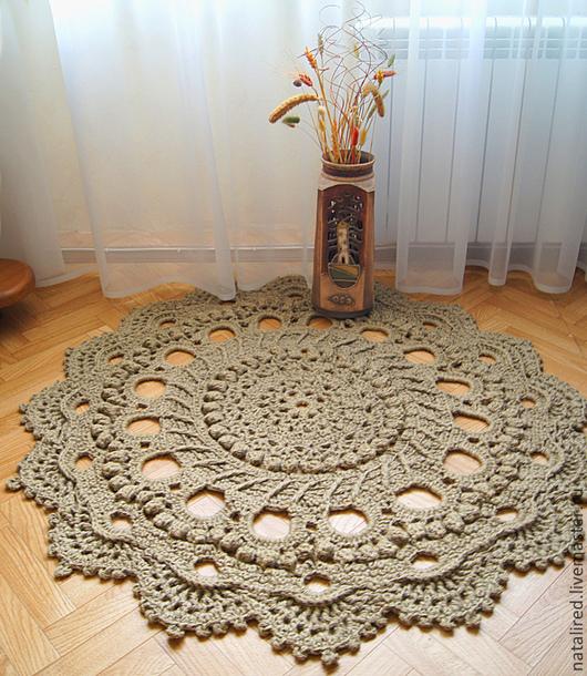 Текстиль, ковры ручной работы. Ярмарка Мастеров - ручная работа. Купить Ковер из джута. Handmade. Бежевый, вязаный, экологичный