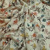 Материалы для творчества ручной работы. Ярмарка Мастеров - ручная работа Штапель вискозный айвори с нежными пастельными цветочками. Handmade.