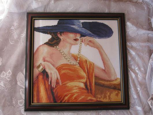Люди, ручной работы. Ярмарка Мастеров - ручная работа. Купить Роковая женщина Вышитая картина крестиком. Handmade. Оранжевый