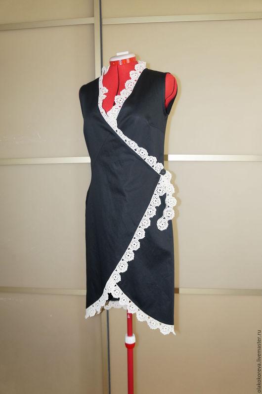 Платья ручной работы. Ярмарка Мастеров - ручная работа. Купить Платье р.44 черное ручное кружево беж. Handmade.