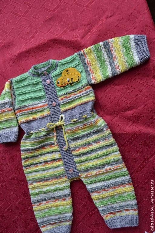 Одежда ручной работы. Ярмарка Мастеров - ручная работа. Купить Комбинезон вязаный Цветная фантазия. Handmade. Разноцветный, для новорожденного, акрил