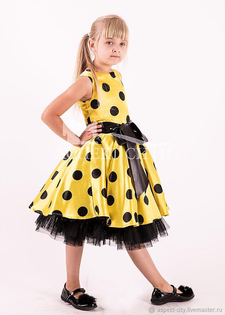 Платье Стиляги для девочки, желтое поле-черный горох