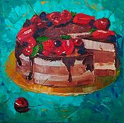 Картины и панно handmade. Livemaster - original item The picture of the Cake for tea still life oil palette knife. Handmade.