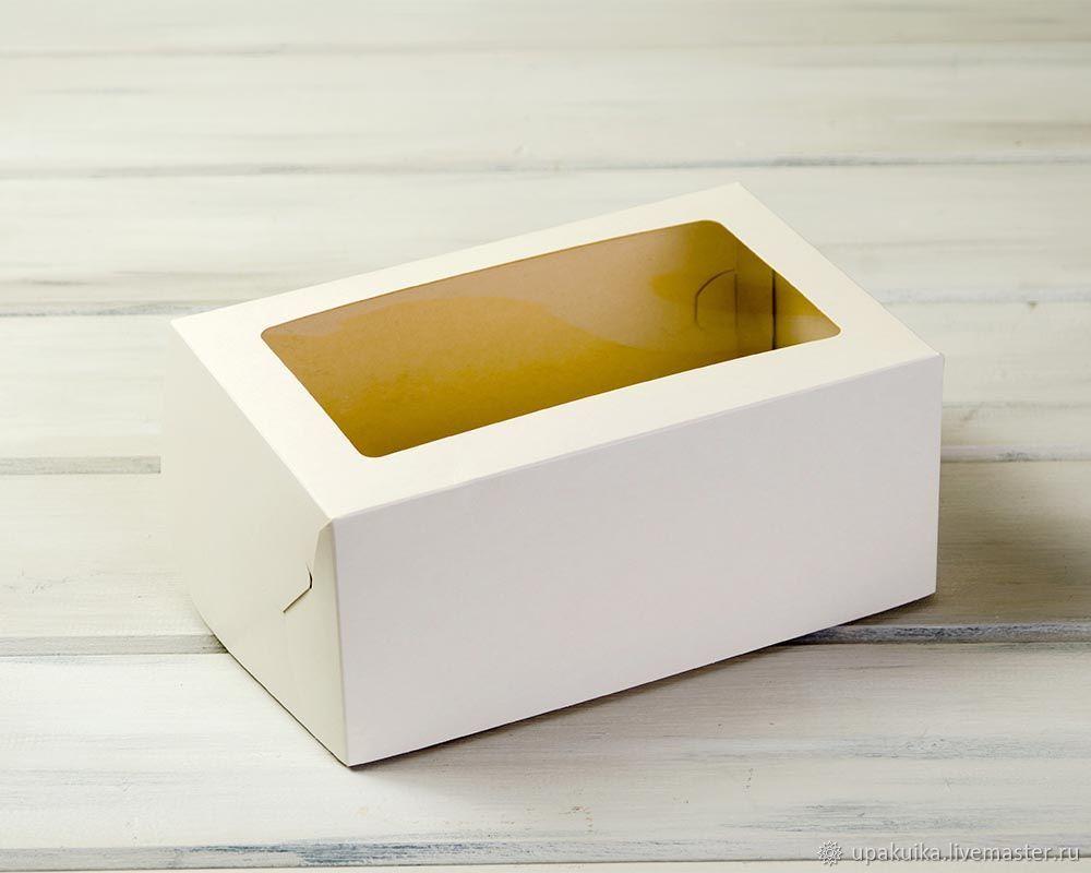 Коробка для выпечки, 25х16х11 см, с прозрачным окошком (Арт. 0102013) Размер: 25х16х11 см Материал: экологичный белый картон