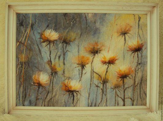 Картины цветов ручной работы. Ярмарка Мастеров - ручная работа. Купить Панно из шерсти.. Handmade. Картина из шерсти, картина на стену