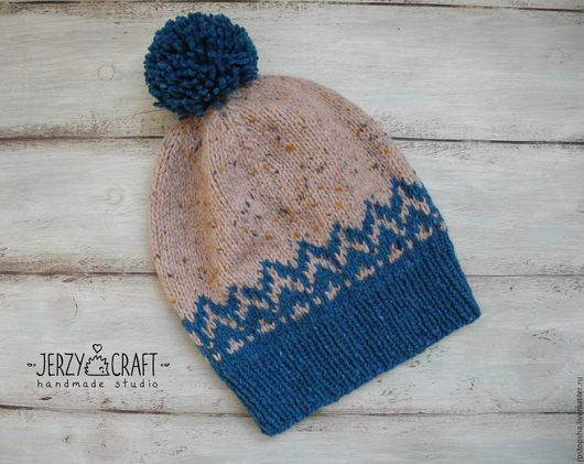 Шапка вязаная спицами шапка бини с помпоном шапка теплая шапка вязанная шапка зимняя шапка  шапочка теплая шапочка вязаная спицами шапочка вязанная шапочка шерсть шапка шерстяная шапка вязаная твид