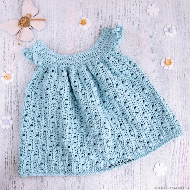 Вязаное платье для малышки, летний сарафан на девочку 3-6 мес, голубой, Платья, Чебоксары,  Фото №1
