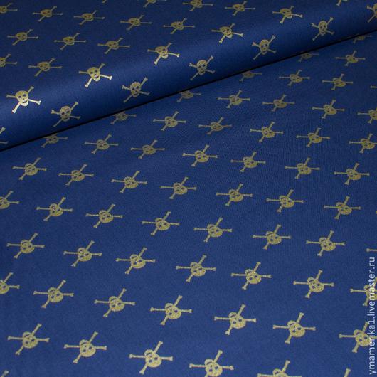 Шитье ручной работы. Ярмарка Мастеров - ручная работа. Купить Американский хлопок  ПИРАТЫ  мелкий рисунок на синем фоне. Handmade.