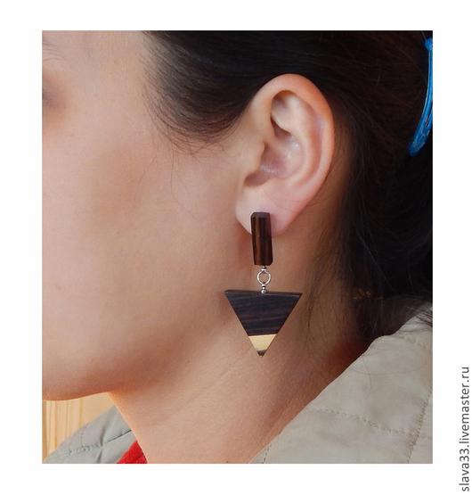 Серьги ручной работы. Ярмарка Мастеров - ручная работа. Купить Треугольные серьги.. Handmade. Wooden earrings, серьги из дерева