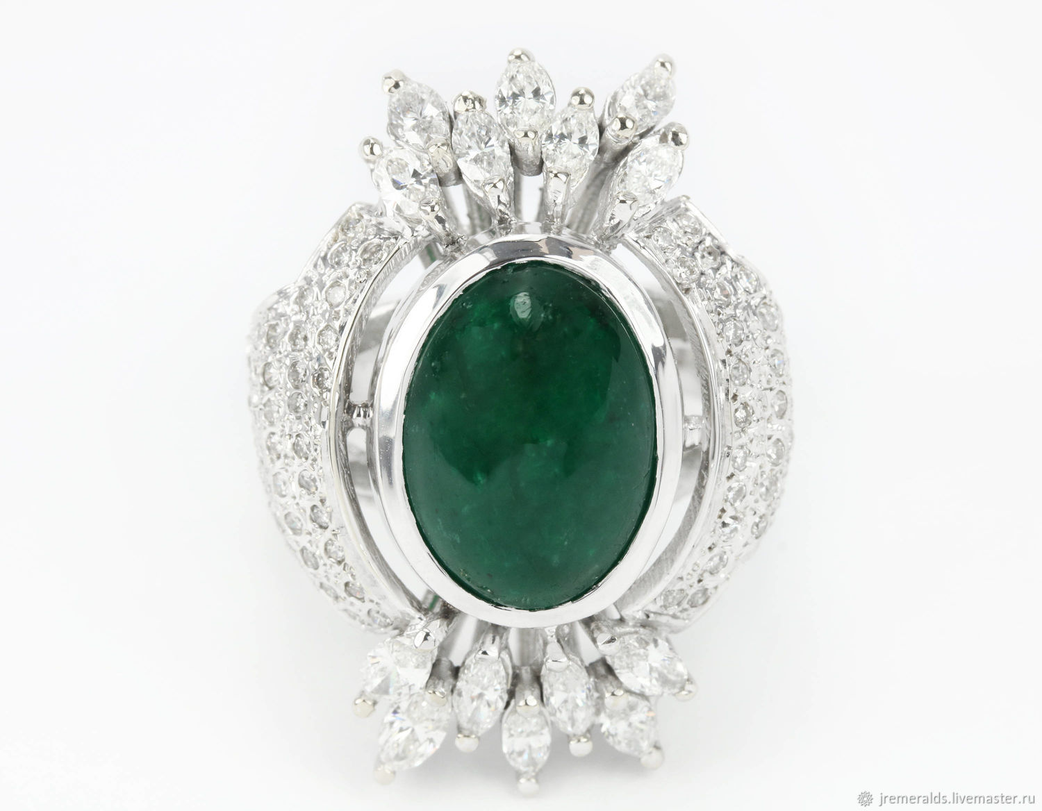 6.85cts Estate Colombian Emerald Cabochon & Diamond Cocktail Ring 18k-, Rings, West Palm Beach,  Фото №1