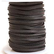 Материалы для творчества ручной работы. Ярмарка Мастеров - ручная работа Шнур плоский 3мм нат.кожа Черный (1 метр). Handmade.