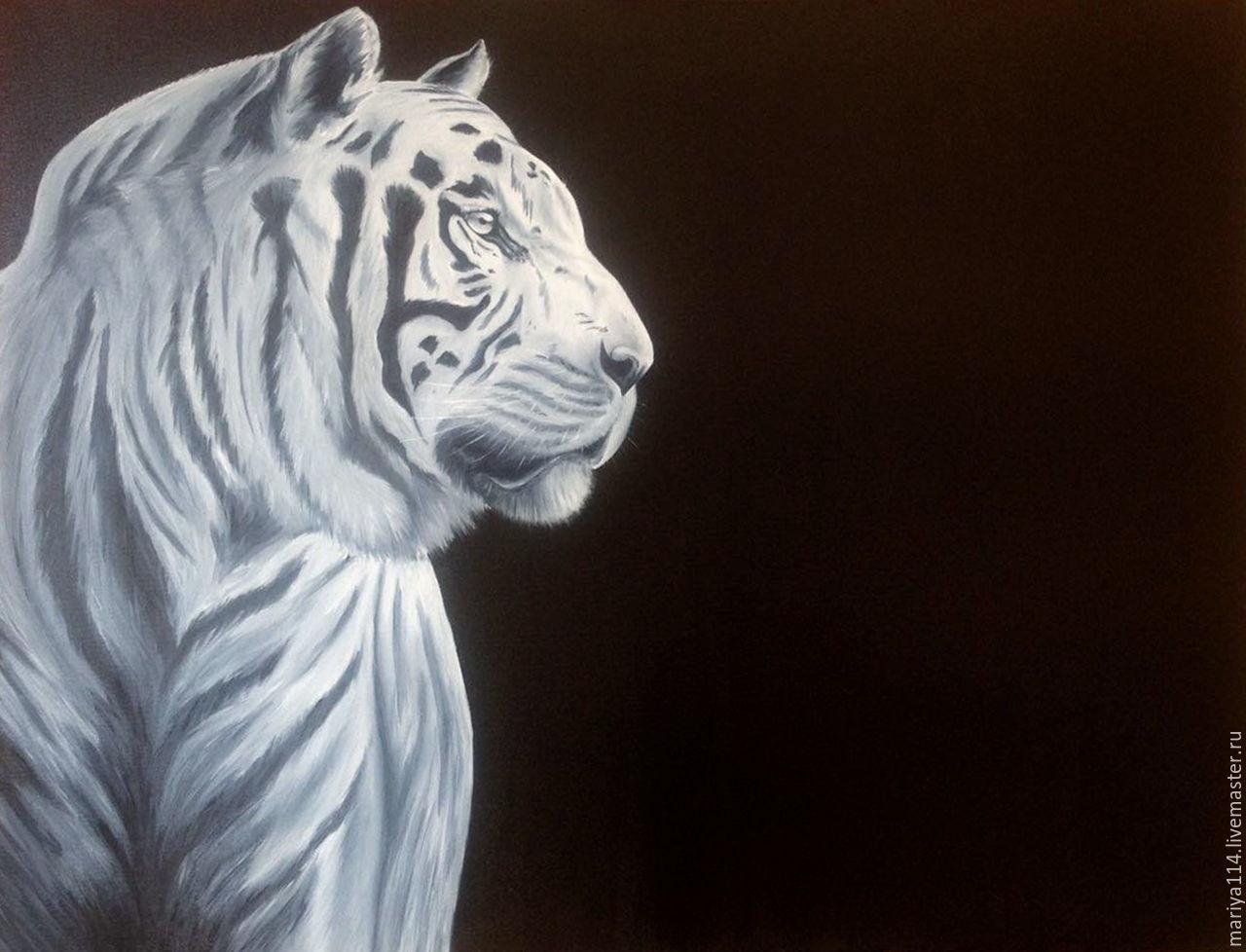Животные ручной работы. Ярмарка Мастеров - ручная работа. Купить Интерьерная картина ТИГР-холст,масло. Handmade. Тигр