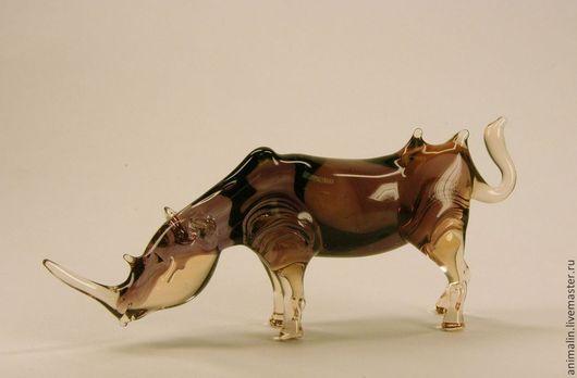 Figurines handmade. Livemaster - handmade. Buy glass figurine fighting rhino.Rhino
