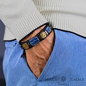 Украшения handmade. Livemaster - original item Kyanite Wide Leather men`s bracelet with stone and Italian Bronze. Handmade.