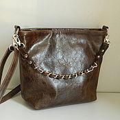 Сумки и аксессуары handmade. Livemaster - original item Leather bag. Crossbody bag. Hobo small. Brown. Handmade.