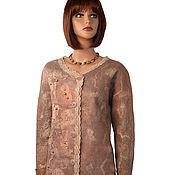 Одежда handmade. Livemaster - original item Felted wool long jacket beige