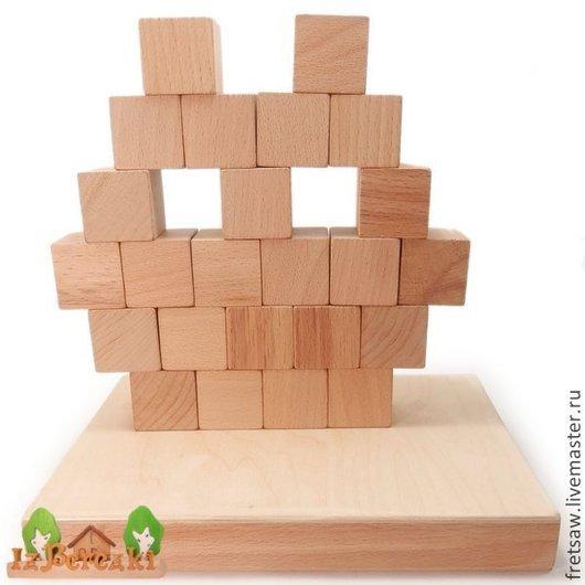 Развивающие игрушки ручной работы. Ярмарка Мастеров - ручная работа. Купить Деревянные кубики. Набор-конструктор.. Handmade. Бежевый, Конструктор