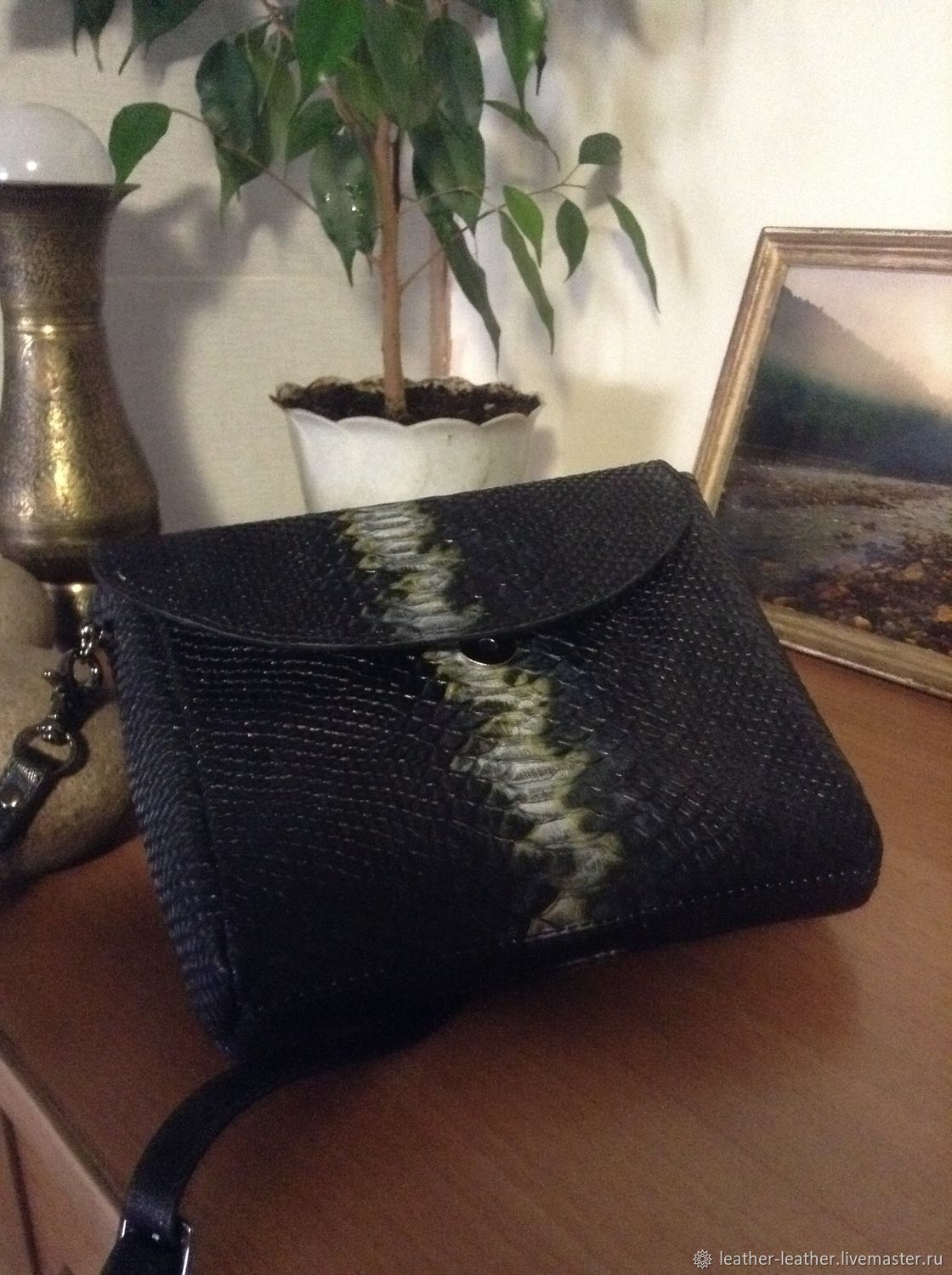 Gift on March 8 Bag from a genuine leather under a Python, Handbags handmade, Khabarovsk, Фото №1