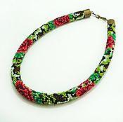 Necklace handmade. Livemaster - original item Harness beaded Roses in camouflage. Handmade.