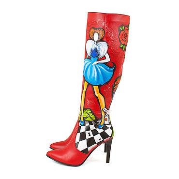 """Обувь ручной работы. Ярмарка Мастеров - ручная работа Сапоги """"Этно Алиса и шляпник"""". Handmade."""