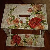 """Для дома и интерьера ручной работы. Ярмарка Мастеров - ручная работа Табурет-стремянка""""Нежность роз"""". Handmade."""