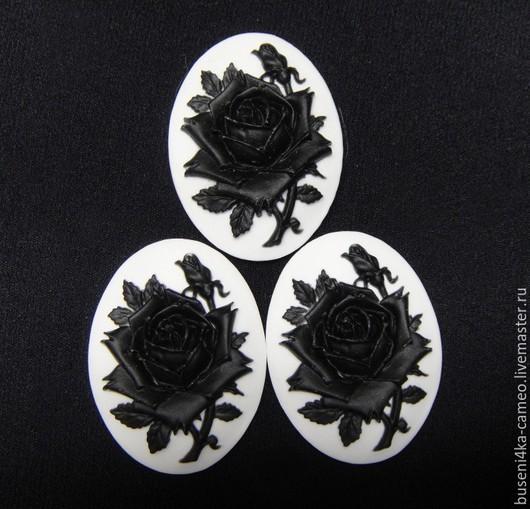 Для украшений ручной работы. Ярмарка Мастеров - ручная работа. Купить Камея Черная роза на белом №2, 18х25мм (пластик) 1шт.. Handmade.