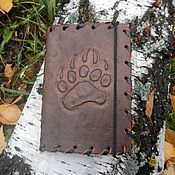 Канцелярские товары handmade. Livemaster - original item Cover leather wallet with embossed Bear claw. Handmade.