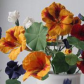 Цветы и флористика handmade. Livemaster - original item Nasturtium , sweet peas.A bouquet of nasturtiums. Polymer clay.Modeling.. Handmade.