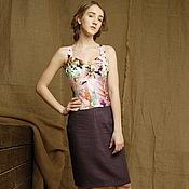 Одежда ручной работы. Ярмарка Мастеров - ручная работа Топ летний из штапеля и юбка карандаш лён, костюм летний юбка и топ. Handmade.