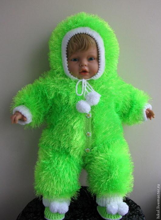 """Одежда ручной работы. Ярмарка Мастеров - ручная работа. Купить Детский вязаный комбинезон """"Пушистик"""".. Handmade. Ярко-зелёный, девочке"""