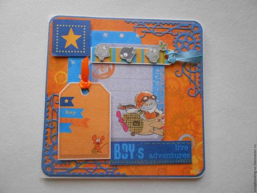 Детские открытки ручной работы. Ярмарка Мастеров - ручная работа. Купить Детская открытка Кот Басик. Handmade. Комбинированный, басик