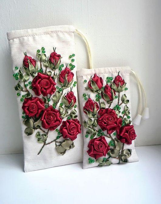 Вышивка розы лентами тютелька в тютельку
