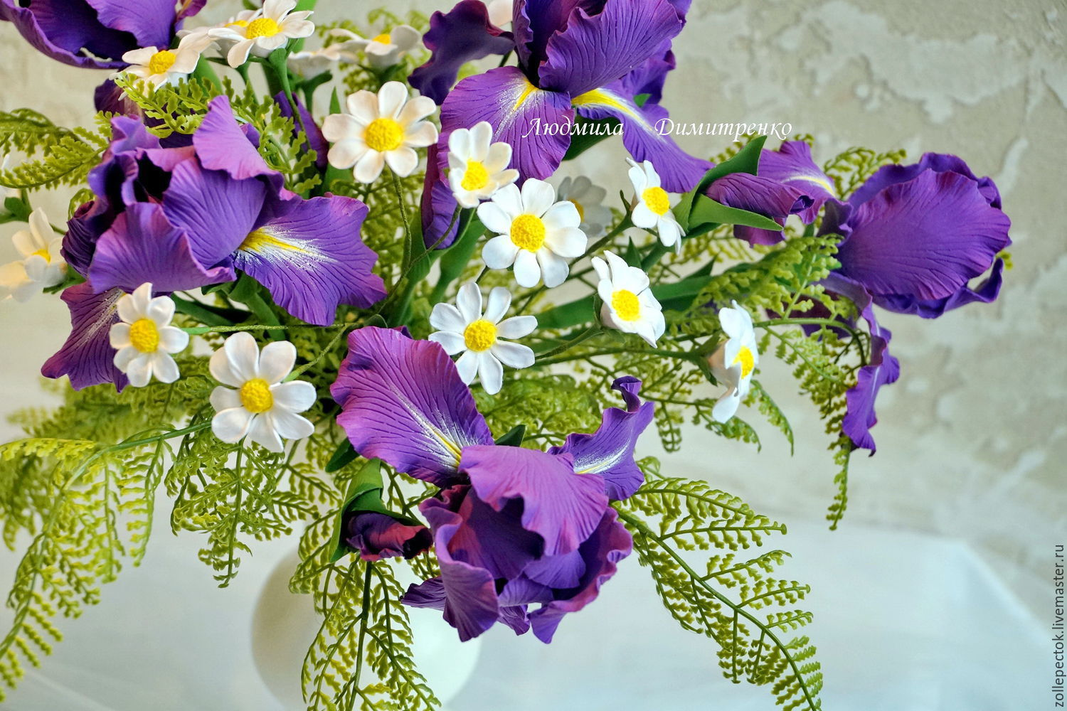 Bouquet irises daisies shop online on livemaster with shipping online shopping flowers handmade order bouquet irises daisies floristlyudmila zollepectok izmirmasajfo