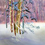 Картины и панно ручной работы. Ярмарка Мастеров - ручная работа Акварель. Пейзаж. Розовый лес. Handmade.