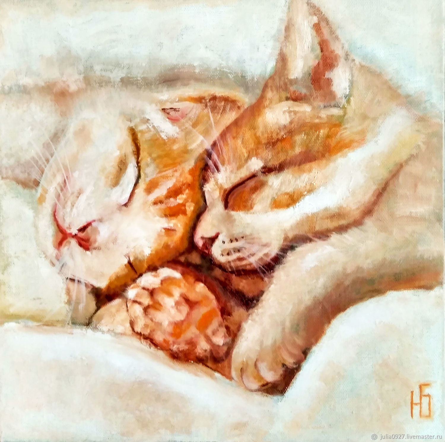 Oil painting the sleeping cat and the cat, romance Warm cats, Pictures, Ekaterinburg,  Фото №1