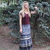 """Одежда ручной работы. Ярмарка Мастеров - ручная работа Длинная серая юбка ярусная """"Темные аллеи"""". Handmade."""