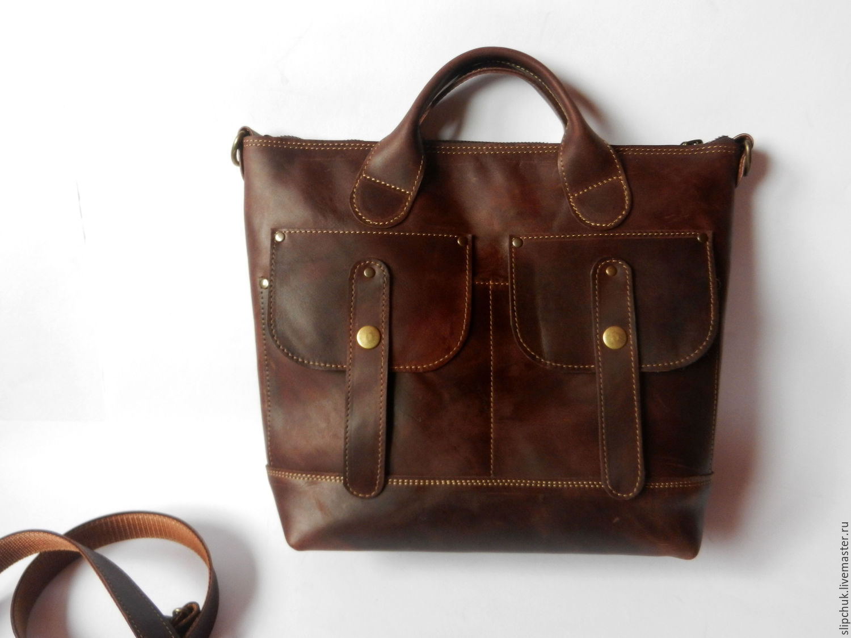 28a60f4edf2a Женские сумки ручной работы. Ярмарка Мастеров - ручная работа. Купить  Кожаная сумка-портфель ...